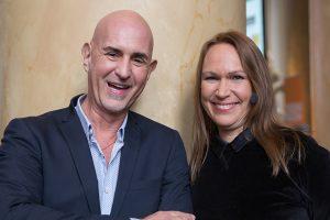 Micael Bindefeld och Francesca O'Brien Apelgren talade om socialt ansvar. Foto: Sara Brehmer